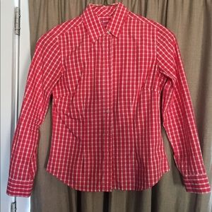 J. McLaughlin red checkered blouse
